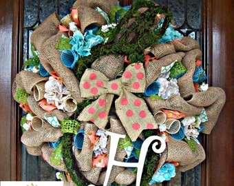 Burlap Moss Bunny Easter Wreath with Initial