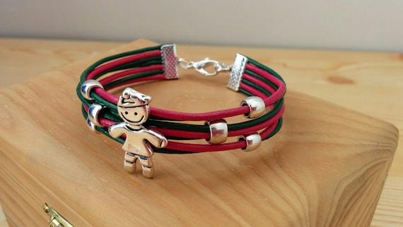 Boy bracelet, son bracelet, leather bracelet, mother's bracelet, leather cuff,pink green cuff, kid bracelet, child pendant, child bracelet