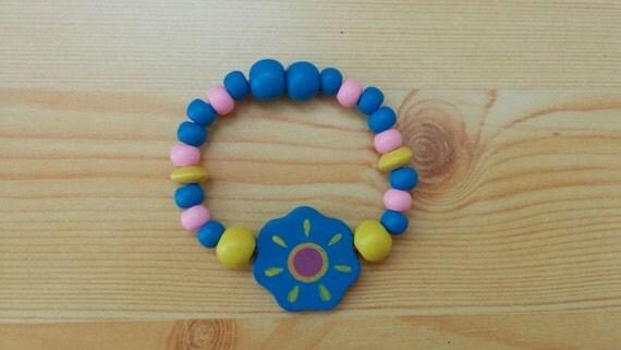 Girl bracelet, children bracelet, kids bracelet,flowers bracelet,wood bracelet,beaded bracelet,kids jewelry,girl jewelry,wooden bracelet