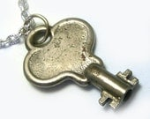 One of a Kind Unique Winder Skeleton Key Steampunk Pendant, steampunk necklace, skeleton key necklace, winder necklace, silver, OOAK key