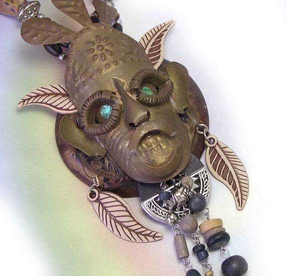 Handmade Tribal Statement African Necklaces, Tribal Pendant, Voodoo Necklace, Tribal Jewelry, African Pendant, bone, warrior mask, ooak, big