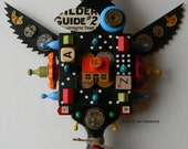 Recycled Art - Crow (Victory) - Mixed Media Assemblage - Found Object Art by Jen Hardwick