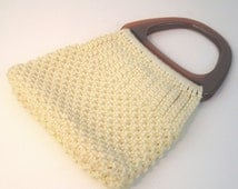 70s Macrame Purse Cream Macrame Bag 1970s Macrame Bag Off White Purse Cream Purse Macrame Handbag Off White Bag