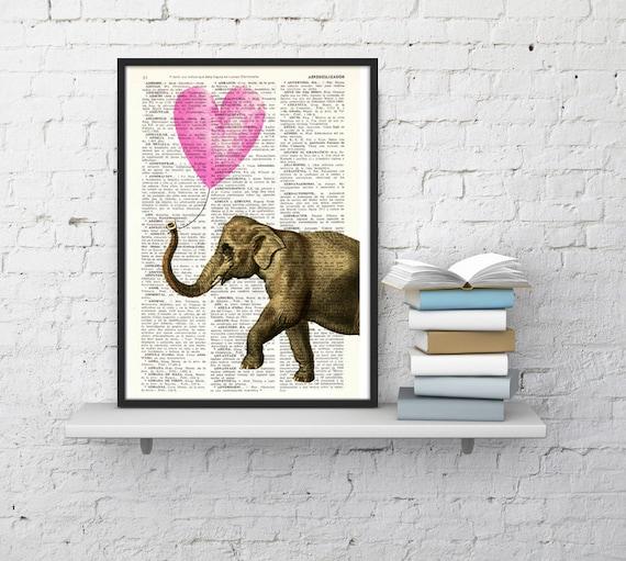 Summer Sale Elephant Art Print Wall Art Print, Pink Heart shaped balloon Wall Decor, Elephan Dorm Decor Fun Love Elephant ANI217