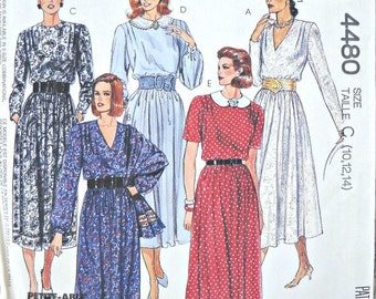 McCall's 4480 Dress and Scarf Pattern, Sizes 10, 12, 14  Vintage 1989