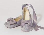Silver Lace Baby & Toddler Shoe - Little Girls Gray Ballet Slipper, Wedding Shoe, Flower Girl Ballet Flat, Dance Shoe, Baby Souls Baby Shoes