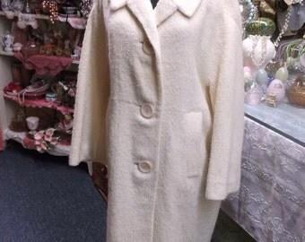 Ivory Wool Vintage Coat