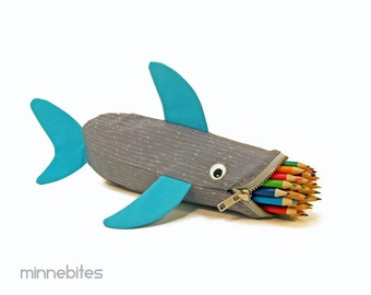 Shark Bag by MinneBites / Handmade Pencil Case - Turquoise Gray Fish - Sketch Art Kit - Boys School Bag - Kids Ocean Animal - Ready to Ship