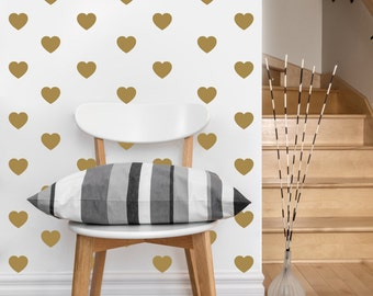 Mini Heart Pattern | Vinyl Wall Sticker,  Decal Art | Set of 80 Hearts, 2-inch wide