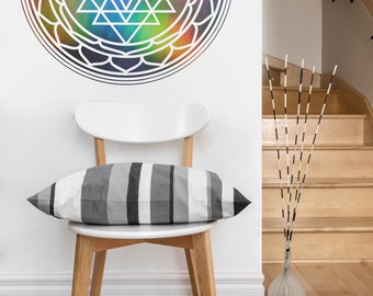 Sri Yantra mandala vinyl Wall DECAL-seed Sacred geometry, sticker art, home decor, rainbow Holographic