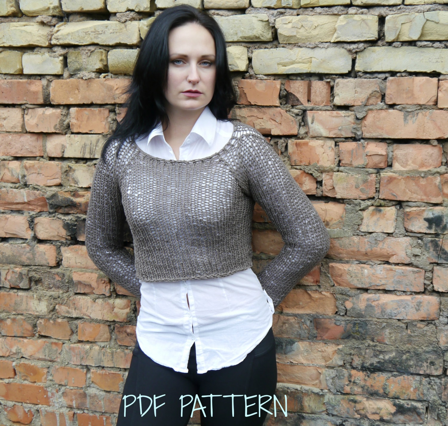 Cropped Jumper Knitting Pattern : Knitting Pattern / Knitting Crop Sweater Pattern / Knitting