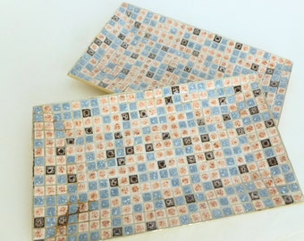 Mosaic Tile Trays Mid Century Modern Atomic Home Decor Brown, Rust, Blue Gray Set of Two