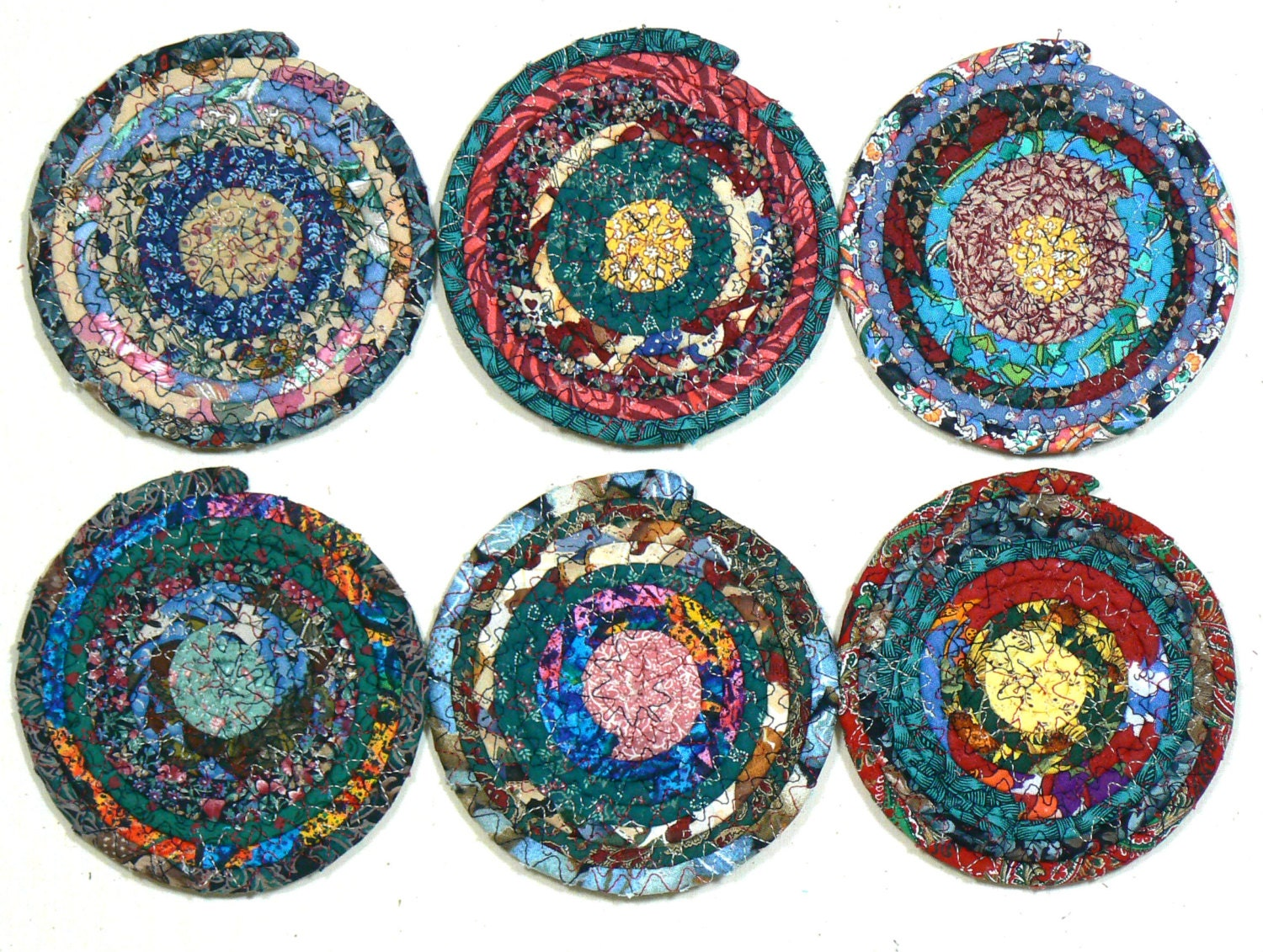 Six Fabric Coasters Coiled Rope Coasters Fabric Mug Rugs
