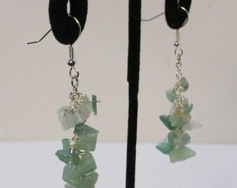 Real stone, Jade, dangle cluster earrings