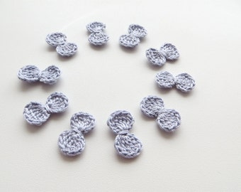 Crochet Bows, Bow Appliques, Tiny Small Cute Bows, Decorative Motifs, Elegant Grey, Crochet Gray Bow, Set of 10, Embellishment, Scrapbooking