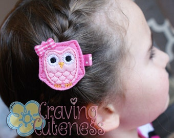 Adorable Owl Hair Clip - Meet Miss Owlana (Pink)