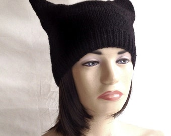 Black Cat Hat Women Knit Hat Cat Black Cat Ears Hat Cat Beanie Cat Lovers gift , valentines day , valentines gift