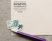 Self-Inking Address Stamp WATERCOLOR  Design Interchangeable or wood handle custom return address stamp hand lettering stamp