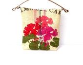 Upcycled Coffee Sack Hobo Bag in Geranium Print
