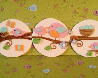 Spring Birds Edible Cake and Cupcake Toppers -  Set of 12