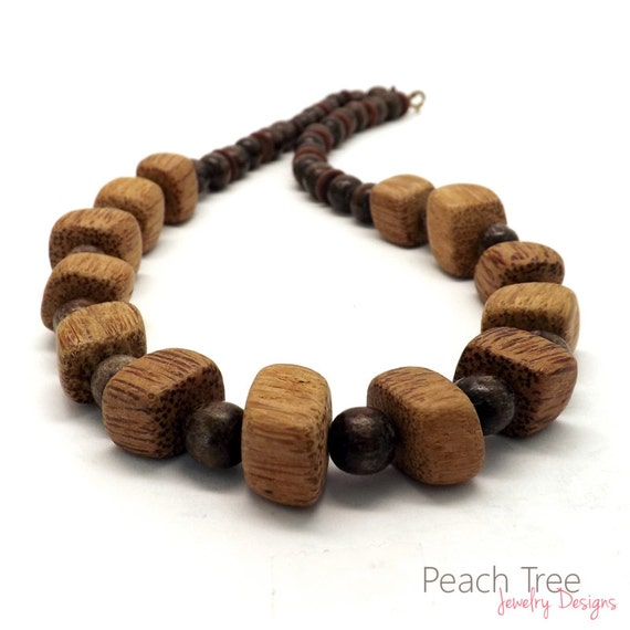 Beaded Wood Necklace, Beaded Necklace, Brown Wood Necklace, Brown Beaded Necklace