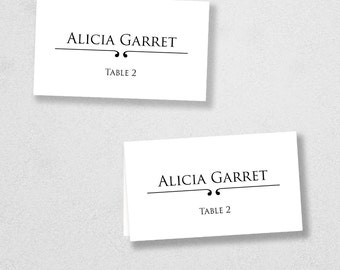 Printable Place Card Template - INSTANT DOWNLOAD - Escort Card - For Word and Pages - Mac and PC - Flat or Folded - Scroll Design