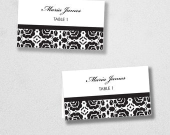 Avery Place Card Template -Anchor - INSTANT DOWNLOAD - Escort Card - For Word and Pages - Mac and PC - Flat or Folded - Floral Damask