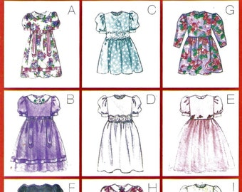 Easy Little Girls Classic Dress Pattern Butterick 5225 (Toddler sizes 2-3-4-5)