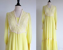 Vintage 70s Yellow Prairie Dress, Boho Wedding dress, Hippie Wedding Dress
