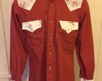 Vintage Mustang Floral Western Shirt - Size Small