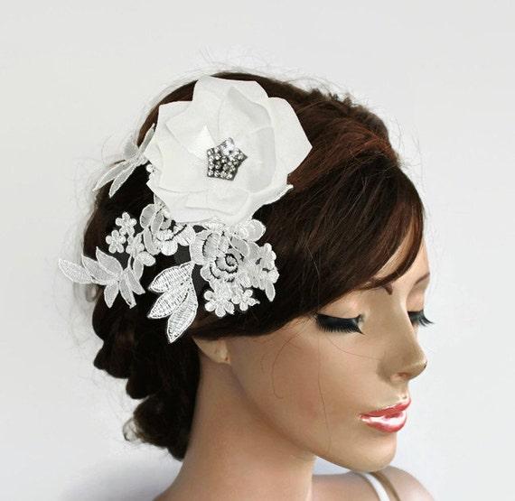 Bridal Hair Flower Fascinator Wedding Bridal Flower Hairpiece Classic White Taffeta Magnolia Venetian Lace Leaves Romantic Modern Unique