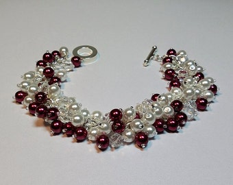 Red White Pearl and Crystal Cluster Silver Bracelet, Mom Sister Bridesmaid Jewelry Gift, Valentines Mothers Day Gifts