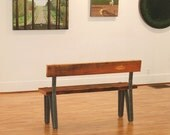 CUSTOM RESERVE for Kristen - drift bench - industrial modern bench from reclaimed wood and recycled steel