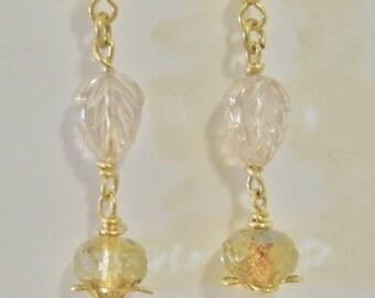 Earrings, Czech Gold glass leaf beads with Czech gold Glass beads