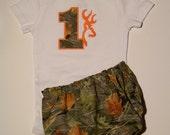 2 pcs BIRTHDAY Outfit / BOY / GIRL/ Deer / Camo / Orange / Realtree / Onesie + Bloomer / 1 st Birthday /  Baby Boy / Custom Boutique