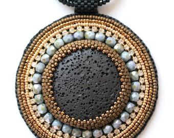 Beaded Necklace Lava Moonlight O.O.A.K
