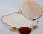 "PEI Brown Sea Glass Bracelet ""Beachcomber"""