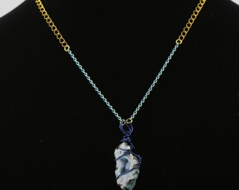 Blue Geode Wire Wrapped Necklace