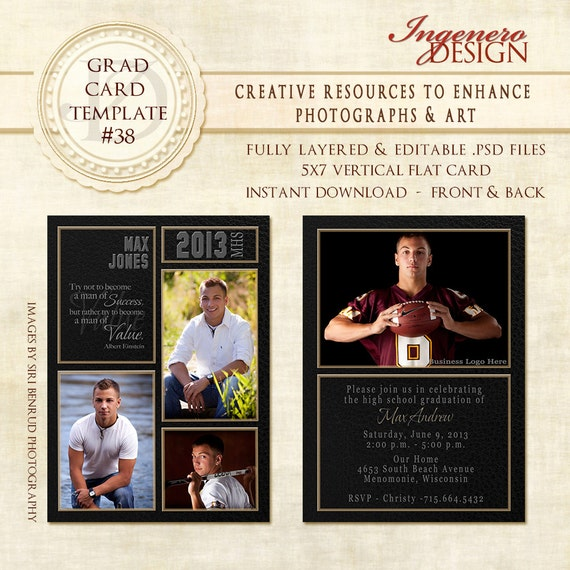 free senior templates for photoshop - senior boy invitation photoshop template by ingenerodesign