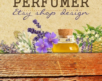 Etsy shop design, Custom banner, Rustic banner, Floral Essential Oil Perfume Aromatherapy Etsy banners, Cover photo