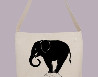 Fun Elephant on Ball Vintage illustration - Hobo Sling Tote, 14.5x14x3, Crossbody Strap, Magnetic Closure, Inside pocket