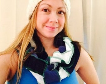 Seahawks cowl Blue and Green scarf chunky cowl patchwork upcycled by HopeFloats
