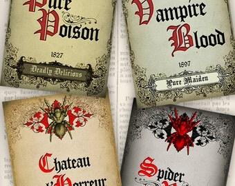 Halloween Wine Labels color black white instant download printable gift tags digital Collage Sheet VDLAHA0977