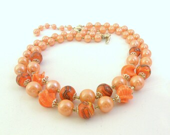 Shades of Orange Double Strand Necklace -  Japan - Spiral Glass Beads