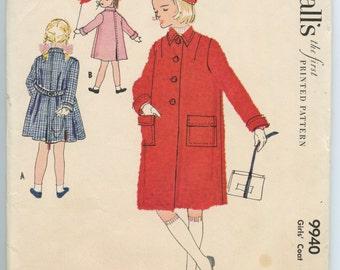 1950s Girls Flared Coat Tie Waist McCall's 9940 Vintage Sewing Pattern Breast 24 UNCUT
