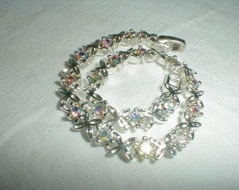 vintage premier designs aurora broealis crystal bracelet silver bracelet sparkling wedding bridal ab crystals pd premier designs jewelry vtg