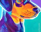 Black and Tan Coonhound,Pet Portrait, DawgArt, Dog Art, Pet Portrait Artist, Colorful Pet Portrait, Coonhound Art, Art Prints