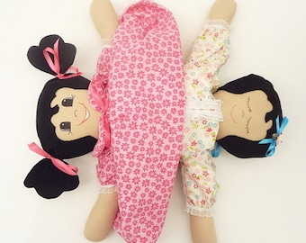 handmade rag doll cute Ethnic rag doll cloth topsy turvy flip flop latino latina doll UP621