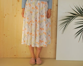 Ruffled Summer Skirt Aquarelle Floral Pastel Print