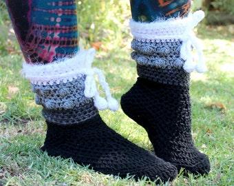 Black, Grey, White Gradient Crochet Boots Slippers